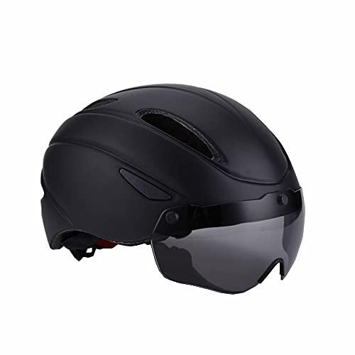 SHU XIN Casco de Gafas magnéticas Casco Integrado Casco de Bicicleta Montaña Casco PC + Material EPS (Color : Black)