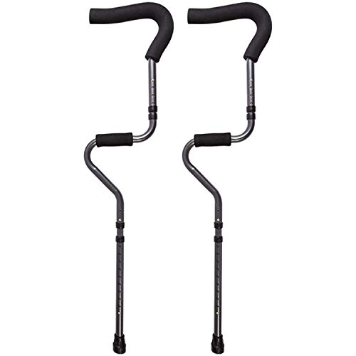 Gmsqj Underarm Adult Medical Crutches(1 Pair),Ergonomic S-Shaped Design,Folding Portable Medical Crutch,Height Adjustable,Lightweight Aluminum Alloy Walker