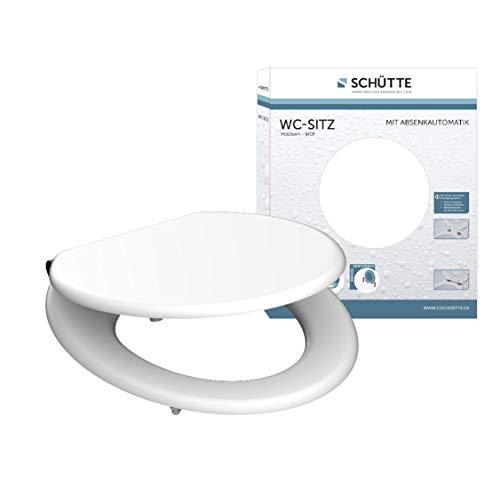 SCHÜTTE 80101 Sitz Holzkern Spirit, Toilettensitz mit Absenkautomatik, passend für alle handelsüblichen WC-Becken, maximale Belastung der Klobrille 150 kg, Weiß matt, White_3