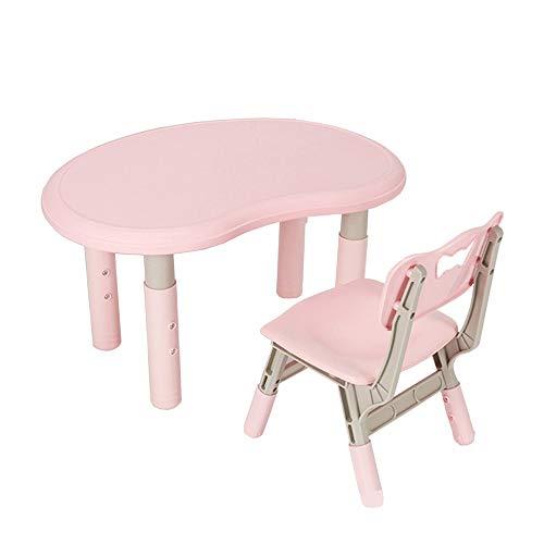 Sumferkyh Rehausseur de Poche Enfants Table Chaise avec Table + 1 Chaises Multifonctions for Enfants Meubles (Couleur : Rose, Taille : 80x56/53.5x30cm)