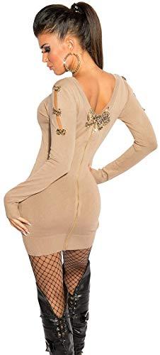 Firstclass Trendstore schönes Strickkleid mit Schleifen und Reißverschluß Gr. 34 36 38, Minikleid Abendkleid Longpullover Longpulli (900085 beige ISF8021)