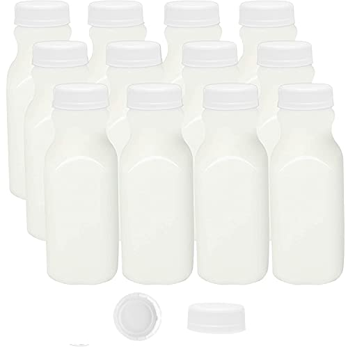 Empty Plastic Bottles Milk Container, 12 oz Bottles Mini Milk Jugs Juice Water with Lids 12 Pk
