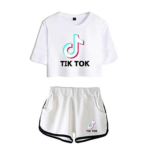 ZYPPX Fashion TIK Tok - Camiseta de manga corta con pantalones cortos, 2 piezas, conjunto de chándal para niñas y mujeres, C, medium