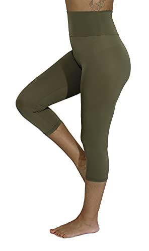 leggins donna militari Leggings Vita Alta 3/4 Pantaloni Capri Donna Made in Italy (Verde Militare
