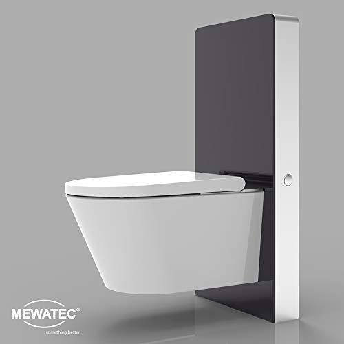 MEWATEC Marken Sanitärmodul für Wand-WCs | MagicWall Touch Spülwand Premium-Spülkasten | Vorwandelement - schwarz