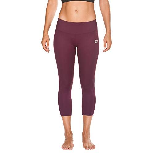Arena W Tights Mallas Deportivas 3/4 Mujer Gym, Red Wine-Black, L