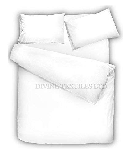 Divine Textiles Non Iron Plain Dyed Duvet Cover With Pillow Cases Easy Care Luxury Percale Bed Set, Single - White