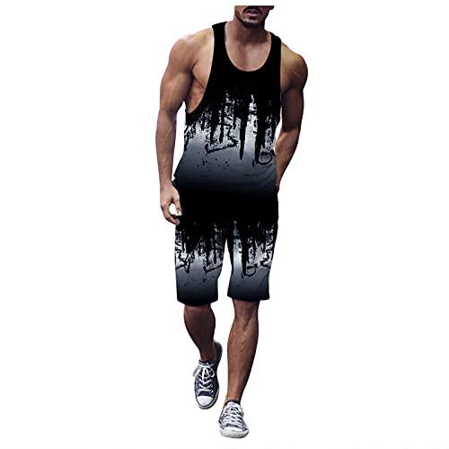 Corlidea Camiseta de tirantes para hombre con gráficos en 3D, camiseta de gimnasio y fitness