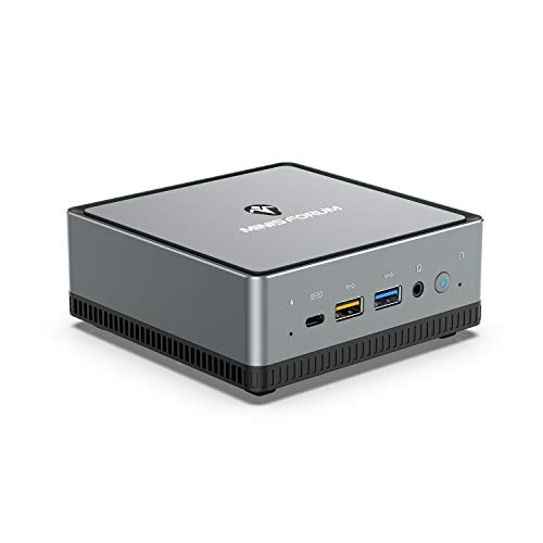 UM270 Mini PC AMD Ryzen 7 PRO 2700U 4C/8T Windows 10 Pro Mini Computer, DDR4 16GB RAM+512GB SSD, HDMI/DP/USB-C 4K@60Hz Output, 2X RJ45 Port, 4XUSB3.1 Port, WIFI6 AX200 BT5.1, Radeon Vega 10 Graphics