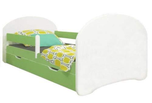 Meblex - Letto per bambini con cassetti e materasso in schiuma di sicurezza, 160 x 80 cm, per camera da letto dei bambini, con struttura in MDF e testiera integrata, MDF, Bianco/verde, 160x80cm