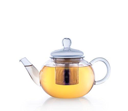 Creano Teekanne aus Glas 0,8l, 3-Teilige Glasteekanne mit Integriertem Edelstahl-Sieb und Glas-Deckel, Ideal zur Zubereitung von Losen Tees, tropffrei, All-in-One