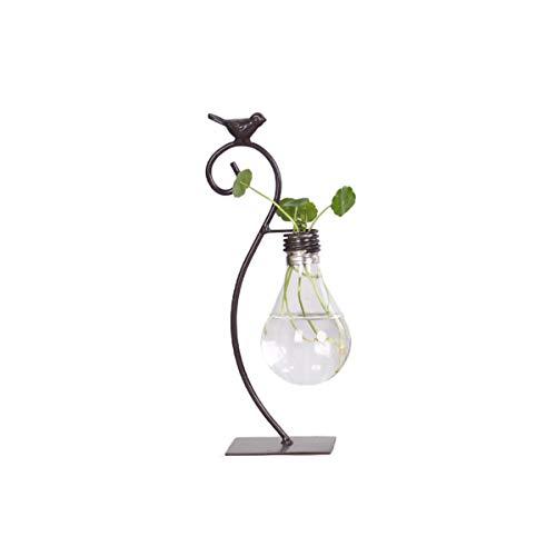 DEDC Lámpara Vintage de Cristal con Soporte de Metal para Pájaros, Maceta de Terrario Transparente, Plantación de Agua para Plantas Hidropónicas, Decoración del Hogar, Oficina, Jardín, Tipo S