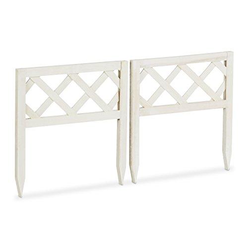 Relaxdays Steckzaun Holz 2er-Set, Gartendeko, niedrige Beeteinfassung & Zierzaun, Erdspieße, erweiterbar, 30x30cm, weiß