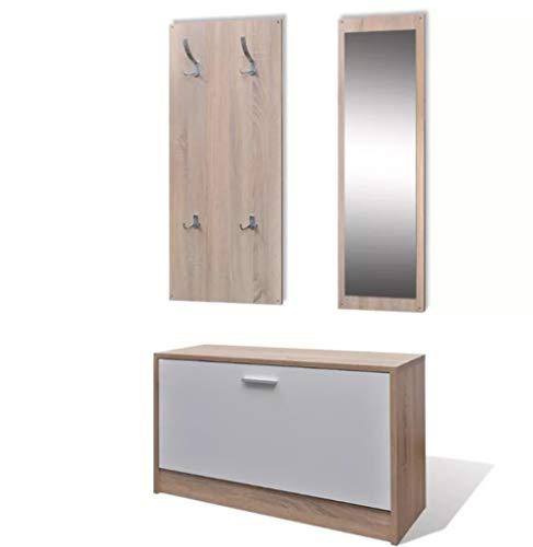 Zerone - Juego de muebles de madera 3 en 1, aglomerado + plástico + aleación de aluminio, roble + blanco, con 4 ganchos, 80 x 27 x 46,5 cm