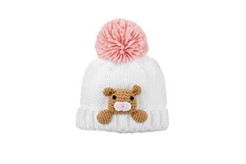 Mud Pie Baby Girls' Pink Bear Knit HAT, 0-6 Months
