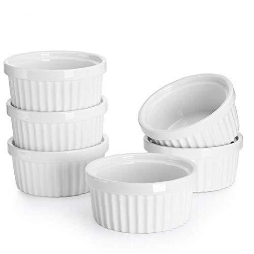 AMOYER Set von 6 Feine weiße Porzellan Ramekins Cup 6 Größen Backen Creme Brulee Pudding Custard Cups 5 * 2.6cm