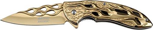 MTech USA Taschenmesser MT-A822 Serie, Messer RUNEN DESIGN Griff GOLD, scharfes Jagdmesser, Outdoormesser 8,26 cm ROSTFREI stonewashed Klinge, Klappmesser für Angeln/ Jagd