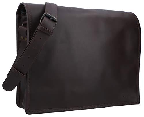 Gusti Ledertasche Herren Leder - Mitch Aktentasche Laptoptasche 15 Zoll Umhängetasche Schultertasche Businesstasche Herren Braun