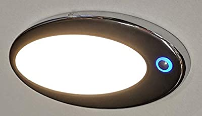 """Bee Green LED 12v dc LED Dome Light (Pancake Light) with Switch, Touch dimming and Night Light. Low Profile Surface Mount Measures only 8 5/8"""" x 4 1/2"""" x 1/2"""". Bright 462 Lumens, Chrome."""