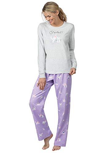 PajamaGram Cat Pajamas for Women - Women Pajamas Set, Purple Cat, 1X 16-18