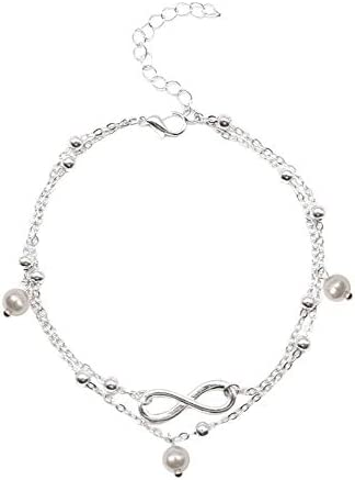 Kiminors Fashion Pearl Anklet Jewelry for Teens Girls Women Hand Beaded Double Chain Footwear Beach Footwear