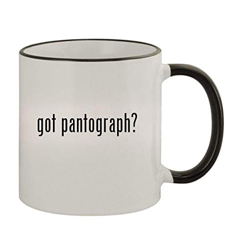 got pantograph? - 11oz Ceramic Colored Rim & Handle Coffee Mug, Black
