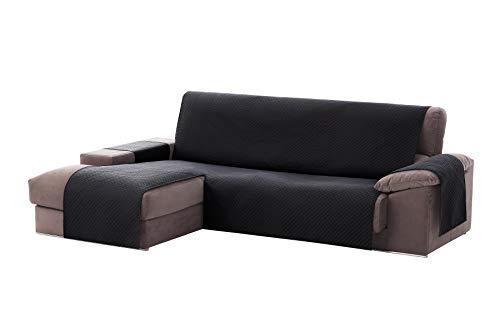 Textilhome - Funda Cubre Sofá Chaise Longue Adele, Protector para Sofás Acolchado Brazo Izquierdo. Tamaño -240cm. Color Negro (Visto DE Frente)