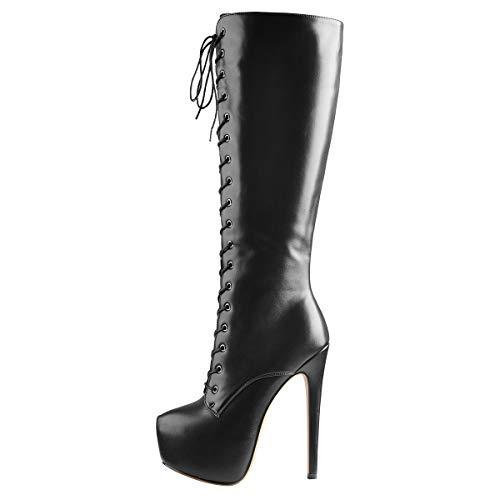 Only maker Damen Schnürstiefel Sexy Stiletto Plateau Langschaft Stiefel Reißverschluss Lederoptik Schwarz 45 EU
