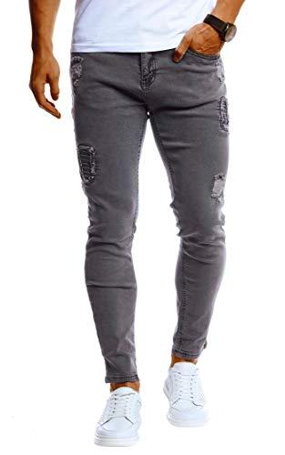 Leif Nelson Herren Jeans-Hose Slim Fit Moderne Denim Freizeithose für Männer Moderne Stretch weiße Jeanshose Schwarz LN9100 W29L30 Grau