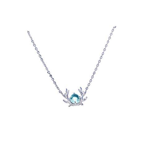 TAOYUN Mujeres Collar Plata De Ley 925 San Valentin Navidad Niñas Decorativa Cabeza De Ciervo con Piedra De Cristal Azul Colgante Cadena De Clavícula Decoración De Moda Joyería Hipoalergénica