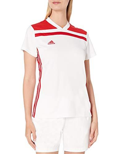 adidas Regista 18 - Camiseta de Manga Corta para Mujer, Camiseta Regista 18, Mujer, Color Blanco/Rojo Poder, tamaño L