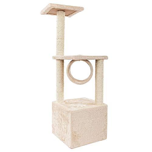 Torre per gatti Multilivel Cat Attività Centro Albero per Gatti Arrampicata Casa per Gatti Condos Tiragraffi Scaletta per Gattini, Beige