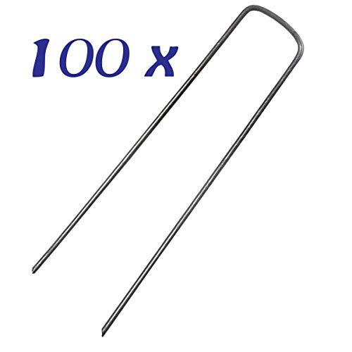 STI Kit 100 Picchetti Zincati Fissaggio Prato reti Teli pacciamatura 150mm x 2,5mm