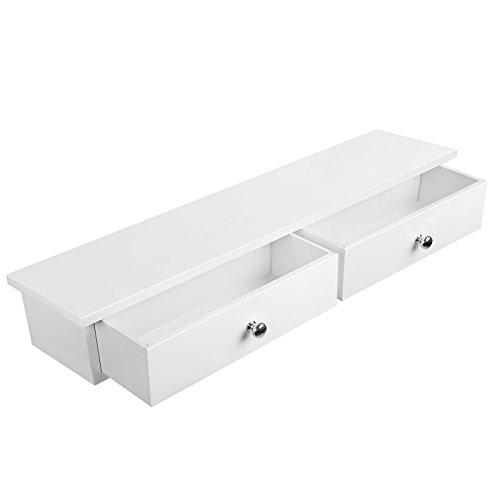 SONGMICS Wall Shelf, Floating Shelf with 2 Drawers, High Gloss Finish, Holds up to 15 kg, 65 x 15 x 10 cm, for Entryway, Living Room, Kitchen, White LWS65WT