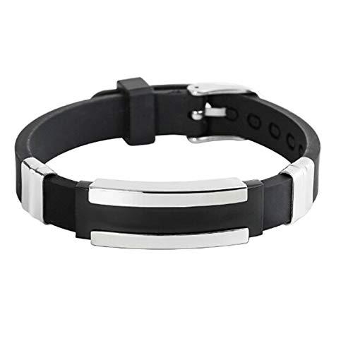 Epinki Bracelet Acier Inoxydable pour Homme Bande de Caoutchouc Réglable Noir Bracelet Jonc