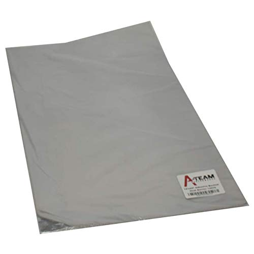 """A-Team Performance 13575 Adhesive Backed Aluminized Fiberglass Heat Shield Barrier Up To 2000 Degrees Fahrenheit Multi-Purpose Compatible with Firewall Hoods Hoses and Doors 12"""" x 24"""""""