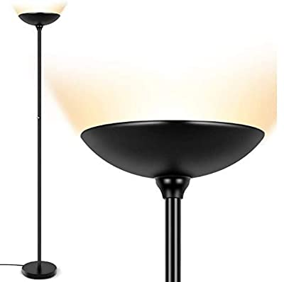 LED Torchiere Floor Lamp, 24W Dimmable, 2160 Lumens, 3000K Warm White, Energy-Saving, Metal Modern Standing Lamp, LED Floor lamp for Living Rooms, Bedrooms & Office, Perfect Lamp for Reading