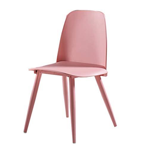 LSRRYD Modern Esszimmerstühle PP Kunststoff+Metallbeinen Für Küche Haushalt & Wohnen Lounge Fernseh Clubsessel (Color : Pink)