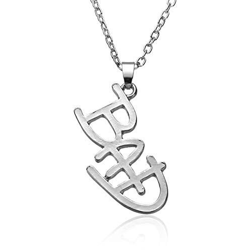 Davitu Chain Necklaces - New Jewelry Michael Jackson English Letter Bad Necklace MJ Bad Logo Pendant for Men and Women Fans Drop Shipping - (Metal Color: Silver)