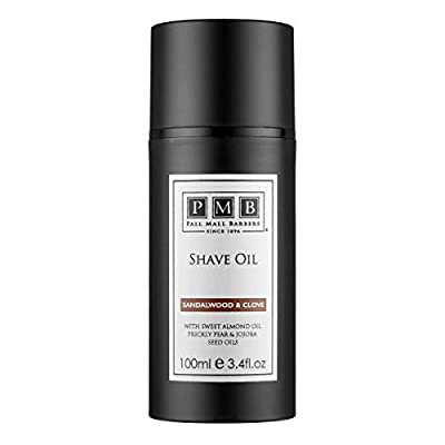 Pall Mall Barbers, Since 1896   Pre Shave Oil, Sandalwood & Clove - 100ml   Stubble Softening Oil   Add Protective Layer   Ideal for Sensitive Skin   Best Shaving Product for Men