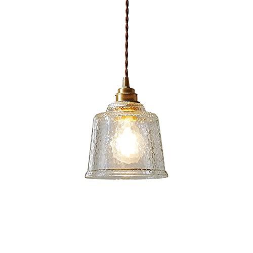 LED 1-Luz Colgante Luz de techo Luz industrial semi Flush Monte Montaje Accesorio Vidrio de grano de agua con aceite Frotado Frotamiento Acabado de bronce para el Dormitorio Pasillo Comedor Entrada Co