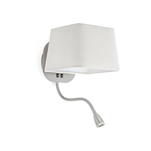 FARO BARCELONA 29935 Sweet Lampe Applique Blanche et Nickel avec Lecteur LED