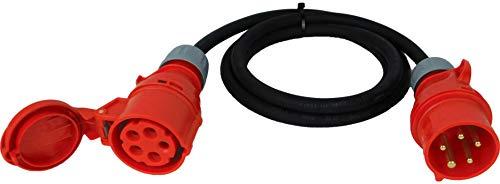 NWP CEE-Verlängerung 2m 400V 16A, Mehrfarbig, IP44 5x2,5 mm² H07RN-F - Gummischlauchleitung, Verlängerungskabel für Baustelle, Industrie, Außenbereich