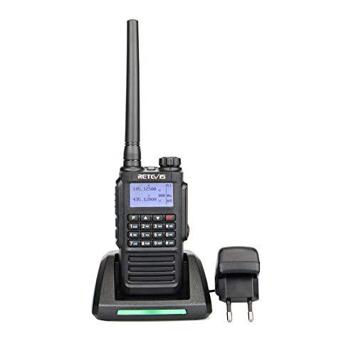 Retevis RT87 Walkie Talkie Waterdicht IP67 Dual Band 5W Portofoons 2 m/70 cm 1200 mAh Batterij 128 Kanalen FM Radio Oplaadbaar Amateur radio (1 Stuk, Zwart)