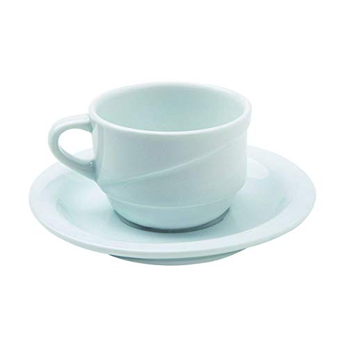 Visiodirect Lot de 12 Paire-Tasses thé Xtanbul en Porcelaine - 23cl
