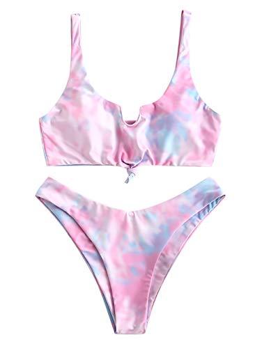 ZAFUL Damen Gepolstert Tie Dye Beachwear Sommer Bikini Multi-D M