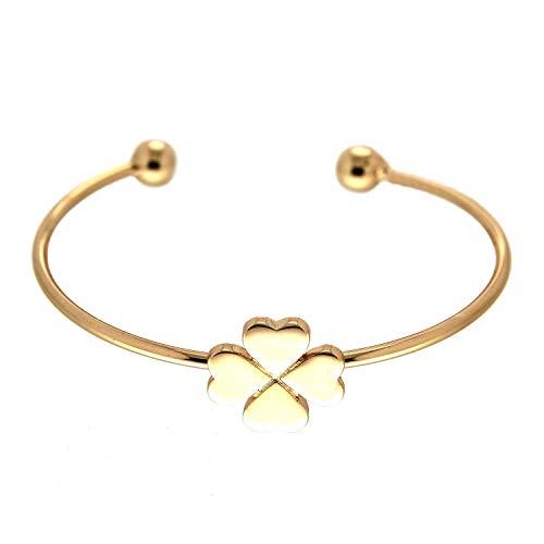 Sweet Deluxe Armreif Kleeblatt, Gold I Armschmuck für Damen & Mädchen | Girl Armband/Armspange | Geschenk-Idee für Geburtstag, Hochzeit, Verlobung | Bangle Frauen Armkettchen