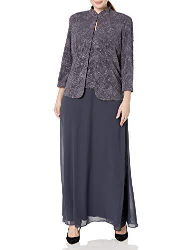 Alex Evenings Women's Plus Size Long Dress with Mandarin Neckline Jacket, Smoke, 16W