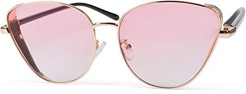 styleBREAKER gafas de sol de mujer de ojos de gato con elemento brillante en las lentes, montura de metal y lentes de policarbonato, «look retro» 09020104, color:Marco oro / cristal rosa tintado