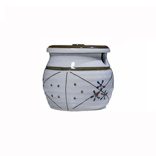 Faiolxlg Botes Cocina Almacenaje, Tarro de Especia de cerámica con Tapa y Cuchara para el hogar y la Cocina, Adecuado para Aceite Caliente, Sal, msg y Otros condimentos